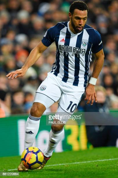 West Bromwich Albion's Englishborn Scottish midfielder Matt Phillips controls the ball during the English Premier League football match between West...