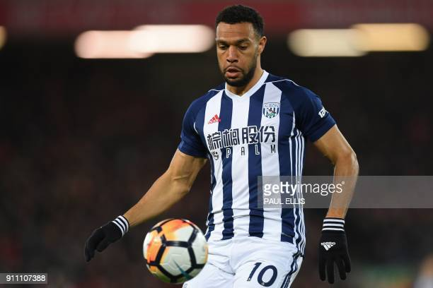 West Bromwich Albion's Englishborn Scottish midfielder Matt Phillips controls the ball during the English FA Cup fourth round football match between...