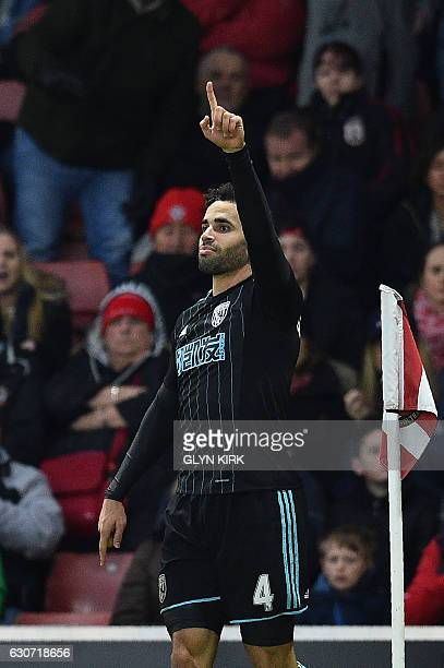 West Bromwich Albion's English-born Welsh striker Hal Robson-Kanu celebrates scoring his team's second goal during the English Premier League...