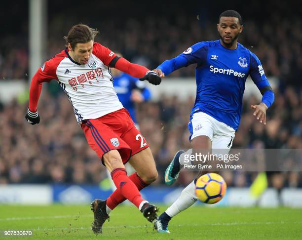 West Bromwich Albion's Grzegorz Krychowiak and Everton's Cuco Martina battle for the ball during the Premier League match at Goodison Park Liverpool