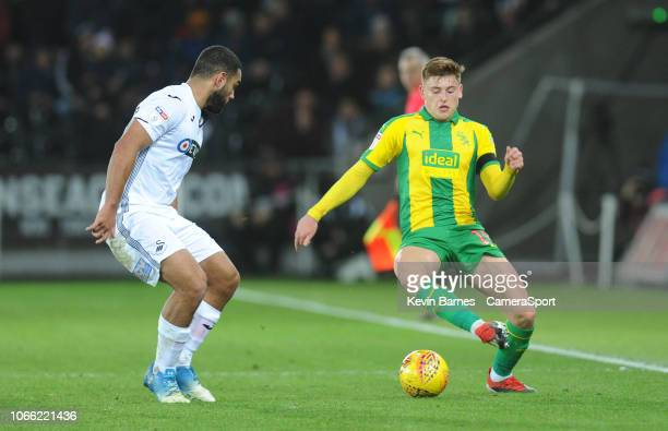 West Bromwich Albion's Harvey Barnes under pressure from Swansea City's Cameron Carter-Vickers during the Sky Bet Championship match between Swansea...