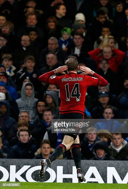 West Bromwich Albion's Irish midfielder James McClean celebrates after scoring their second goal during the English Premier League football match...