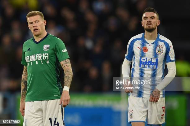 West Bromwich Albion's Irish midfielder James McClean refuses to wear a shirt with a poppy emblem during the English Premier League football match...