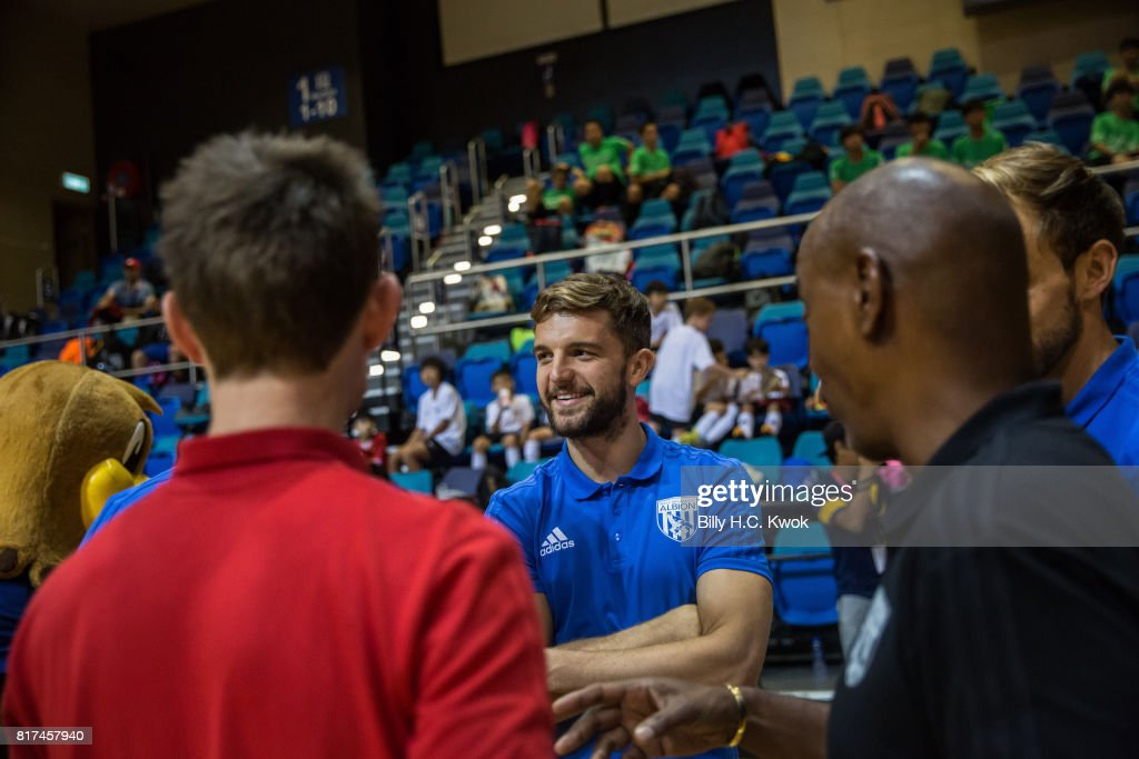West Bromwich Albion's Jay Rodriguez attaches Premier League Asia Trophy Skills Session at Macpherson Stadium on July 18, 2017 in Hong Kong, Hong Kong.
