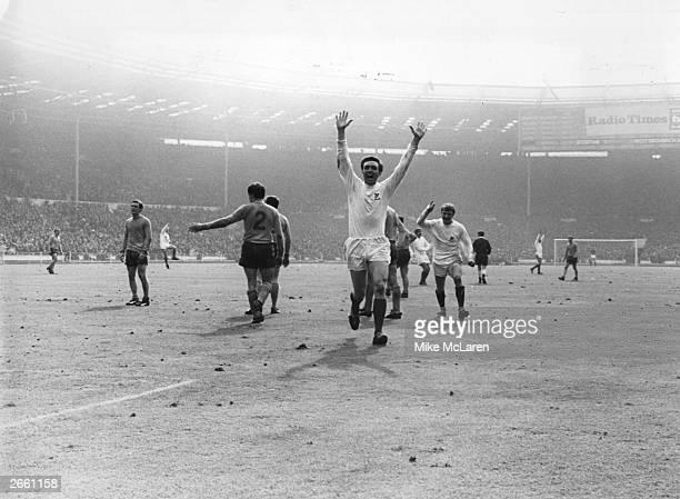 West Bromwich Albion's Jeff Astle raises his arms in victory after scoring the winning goal in their 10 win over Everton after extra time in the FA...