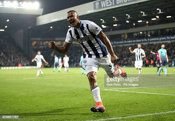 West Bromwich Albion's Jose Salomon Rondon celebrates scoring his side's third goal of the game and his hat trick during the Premier League match at...