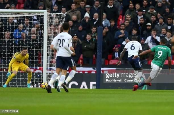 West Bromwich Albion's Jose Salomon Rondon scores his side's first goal during the Premier League match between Tottenham Hotspur and West Bromwich...