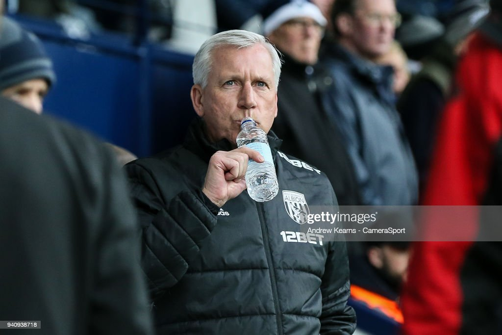 West Bromwich Albion's manager Alan Pardewduring the Premier League match between West Bromwich Albion and Burnley at The Hawthorns on March 31, 2018 in West Bromwich, England.