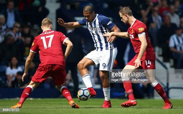 West Bromwich Albion's Salomon Rondon battles for the ball with Ragnar Klavan and Jordan Henderson during the Premier League match at The Hawthorns...