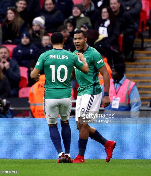 West Bromwich Albion's Salomon Rondon celebrates scoring his side's first goal of the game with Matt Phillips during the Premier League match at...