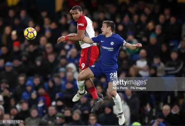 West Bromwich Albion's Salomon Rondon Chelsea's Cesar Azpilicueta battle for the ball during the Premier League match at Stamford Bridge London