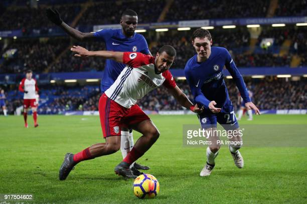 West Bromwich Albion's Salomon Rondon is challenged by Chelsea's Andreas Christensen during the Premier League match at Stamford Bridge London