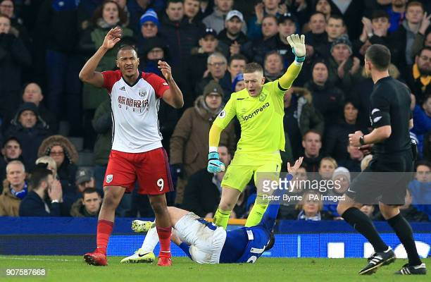 West Bromwich Albion's Salomon Rondon looks upset after his shot resulted in a bad injury for Everton's James McCarthy during the Premier League...