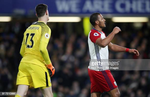 West Bromwich Albion's Salomon Rondon rues a missed chance during the Premier League match at Stamford Bridge London