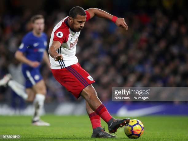 West Bromwich Albion's Salomon Rondon shoots during the Premier League match at Stamford Bridge London
