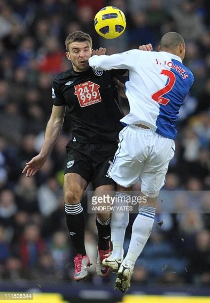 West Bromwich Albion's Scottish midfielder James Morrison vies with Blackburn Rovers' US defender Jermaine Jones uring the English Premier League...
