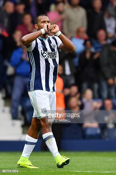 West Bromwich Albion's Venezuelan striker Salomon Rondon celebrates after scoring their second goal during the English Premier League football match...