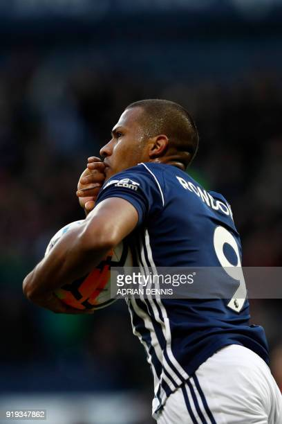 West Bromwich Albion's Venezuelan striker Salomon Rondon celebrates after scoring their first goal during the English FA Cup fifth round football...