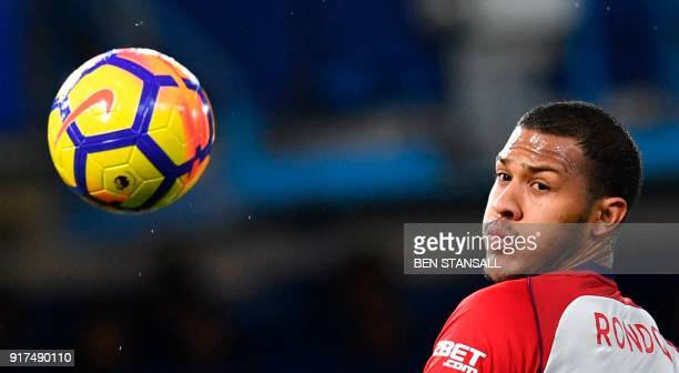 West Bromwich Albion's Venezuelan striker Salomon Rondon eyes the ball during the English Premier League football match between Chelsea and West...