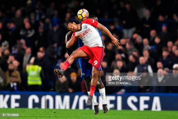 West Bromwich Albion's Venezuelan striker Salomon Rondon jumps against Chelsea's German defender Antonio Rudiger during the English Premier League...
