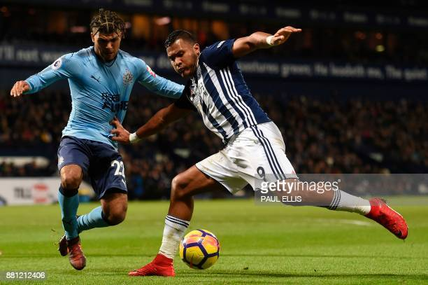 West Bromwich Albion's Venezuelan striker Salomon Rondon tries to make room for a cross as Newcastle United's US defender DeAndre Yedlin defends...