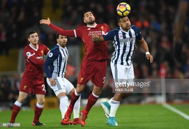 West Bromwich Albion's Venezuelan striker Salomon Rondon vies with Liverpool's German midfielder Emre Can during the English Premier League football...