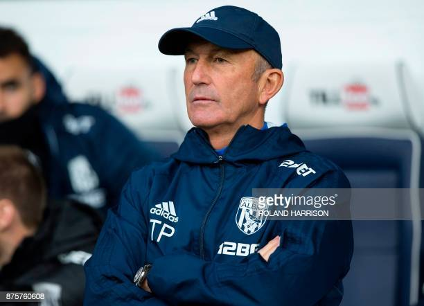 West Bromwich Albion's Welsh head coach Tony Pulis reacts ahead of the English Premier League football match between West Bromwich Albion and Chelsea...