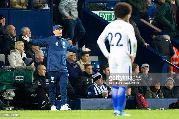 West Bromwich Albion's Welsh head coach Tony Pulis shouts instructions to his players from the touchline during the English Premier League football...