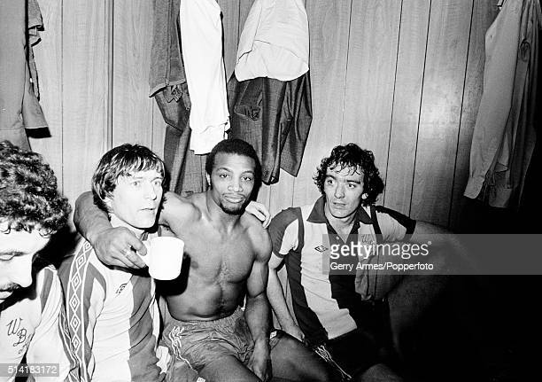 West Bromwich Albion's Willie Johnston Cyrille Regis and Alistair Brown enjoying their FA Cup 5th round victory over Derby County at the Baseball...