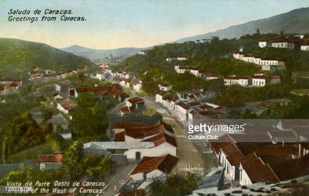 West Caracas Venezuela Colourised photograph from early 20th century Caption reads 'Saludo de Caracas'