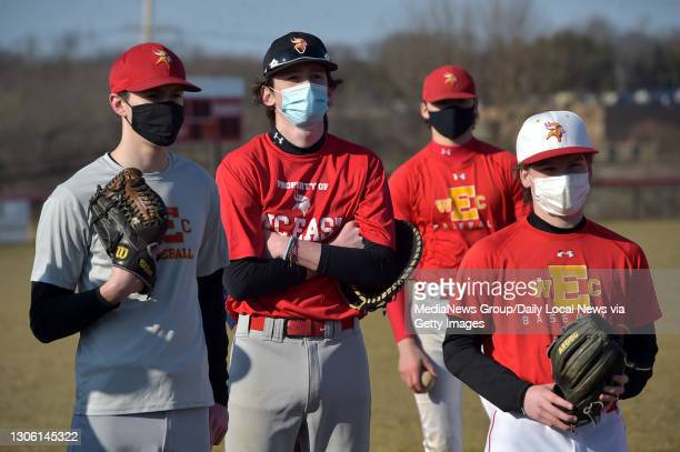 West Chester, PA. March 8 : West Chester East players listen to Athletic Director Sue Cornelius talk about safety protocols at the start of practice...