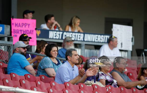 West Chester University fans cheer as their team played UC San Diego during the Division II Men's Baseball Championship held at The Ballpark in Grand...