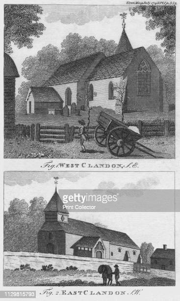 West Clandon and East Clandon 1798 Two views of village churches in Surrey The Norman church of St Peter and St Paul in West Clandon dates from 1180...