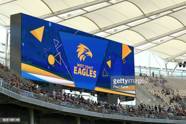 West Coast Eagles AFL signage is displayed on the large screens at Optus Stadium on January 21 2018 in Perth Australia The 60000 seat multipurpose...
