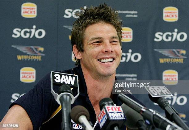 West Coast Eagles captain Ben Cousins, winner of the 2005 Brownlow medal, talks with the media during a press conference at Subiaco Oval September...