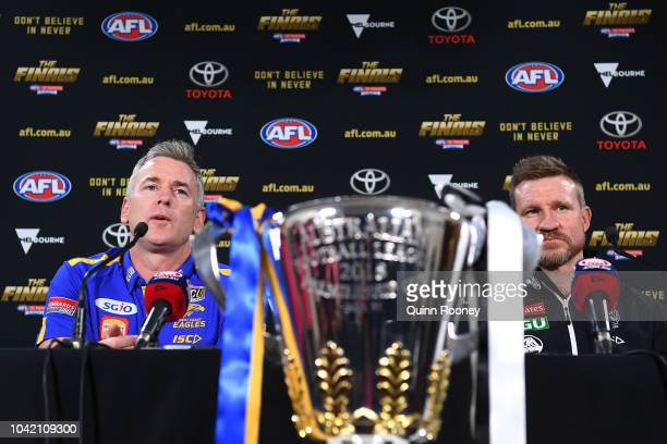 West Coast Eagles coach Adam Simpson and Collingwood Magpies coach Nathan Buckley attend the official 2018 AFL Grand Final press conference at the...