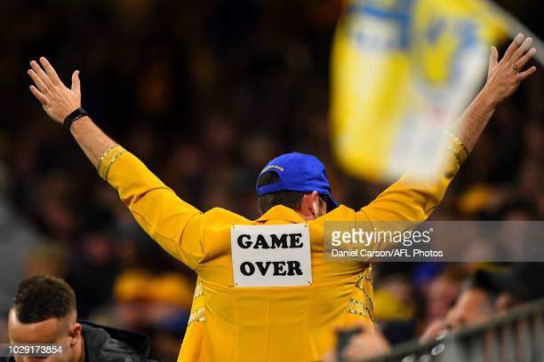West Coast Eagles fan celebrates the win during the 2018 AFL Second Qualifying Final match between the West Coast Eagles and the Collingwood Magpies...