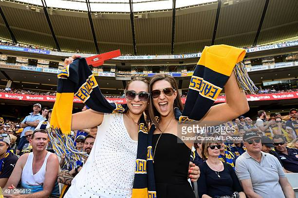 West Coast Eagles fans cheer on their team during the 2015 Toyota AFL Grand Final match between the Hawthorn Hawks and the West Coast Eagles at the...
