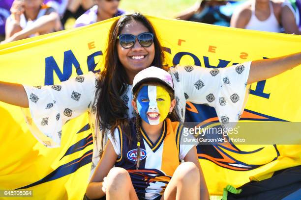 West Coast Eagles fans during the AFL 2017 JLT Community Series match between the West Coast Eagles and the Fremantle Dockers at Wonthella Oval on...