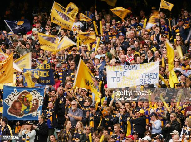 West Coast Eagles fans show their support prior to the 2005 AFL Grand Final between the Sydney Swans and the West Coast Eagles at the Melbourne...