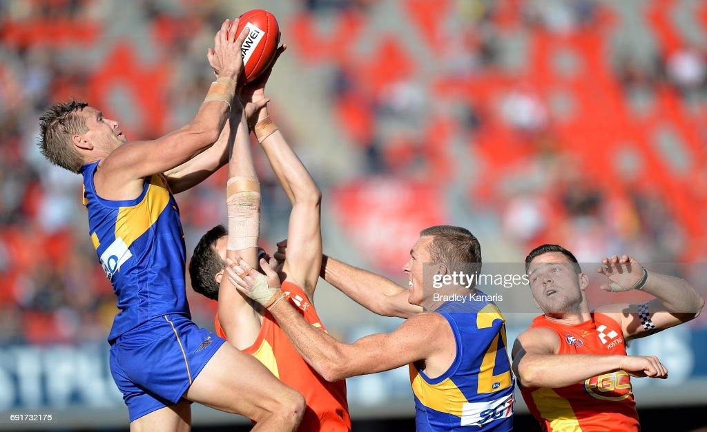 West Coast Eagles player Mark Lecras takes a mark during the round 11 AFL match between the Gold Coast Suns and the West Coast Eagles at Metricon Stadium on June 3, 2017 in Gold Coast, Australia.