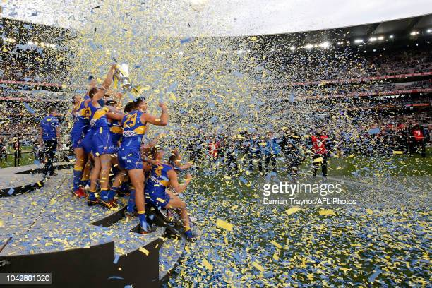 West Coast Eagles players celebrate winning the 2018 AFL Grand Final match between the Collingwood Magpies and the West Coast Eagles at Melbourne...
