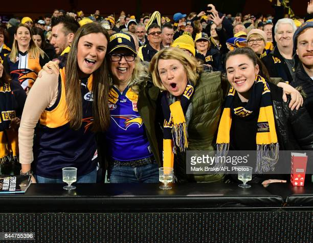 West Coast fans during the AFL First Elimination Final match between Port Adelaide Power and West Coast Eagles at Adelaide Oval on September 9 2017...