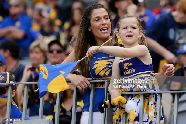 West Coast fans show their support during the AFL Prelimary Final match between the West Coast Eagles and the Melbourne Demons on September 22 2018...