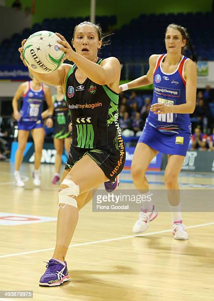 West Coast Fever wing attack Khao Watts grabs the loose ball during the round 13 ANZ Championships match between the Mystics and the Fever at The...