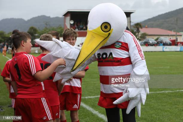 West Coast mascot with ball boy's during the Mitre 10 Heartland Championship Lochore Cup Final between West Coast and South Canterbury at John...