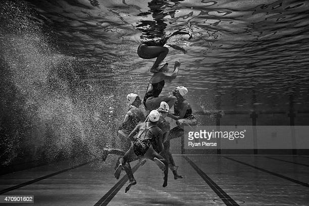 West Coast Splash compete during the Tech Team Final during the Synchronised Swimming National Championships at Sydney Olympic Park Aquatic Centre on...