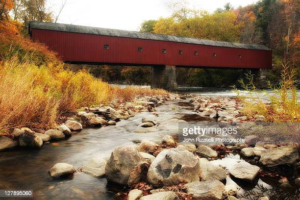 west cornwall covered bridge - swift river stock photos and pictures