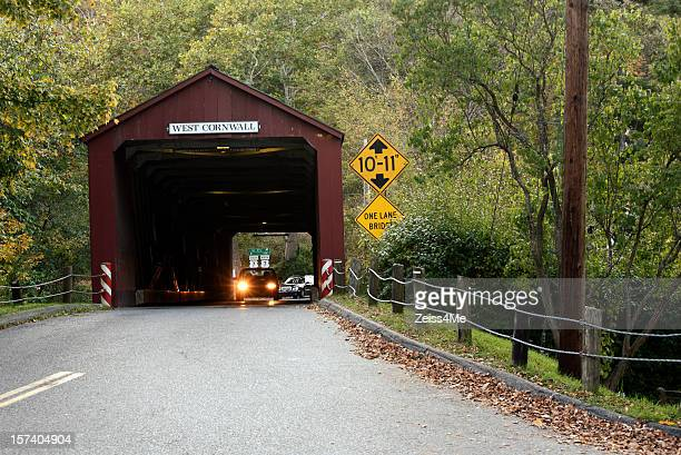 west cornwall new england covered bridge - covered bridge stock pictures, royalty-free photos & images
