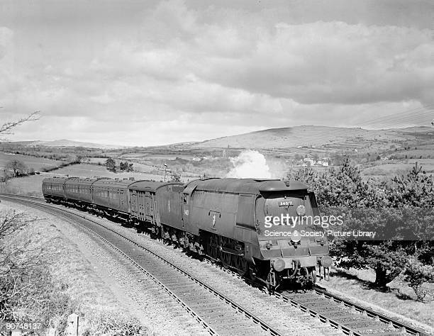 West Country' class locomotive 'Ilfracombe' meandering through the Devon countryside near Tavistock, 14 April 1951. Although designed for heavy...